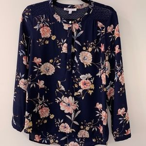 DR2 Floral Blouse with Lace Detail